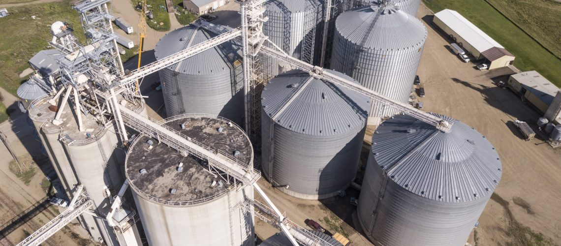 Aerial view of large grain elevators in South Dakota, USA.